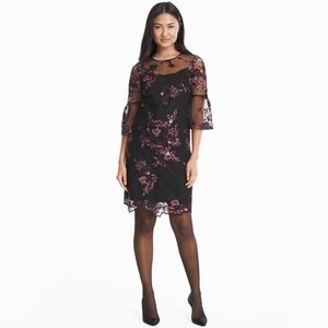 WHBM Bell-Sleeve Embroidered Shift Dress